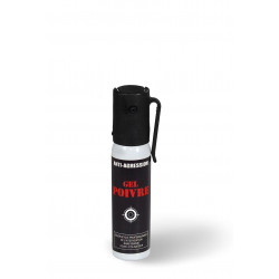 Aérosol lacrymogène anti-agression gel poivre 25 ml.