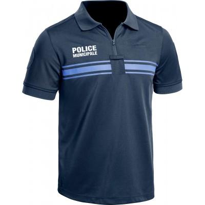 Polo manches courtes Police Municipale P.M ONE Bleu Marine Foncé