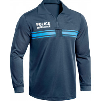 Polo manches longues Police Municipale P.M. ONE Bleu Marine Foncé.