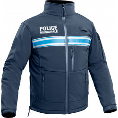 Veste Softshell Police Municipale P.M. ONE Bleu Marine Foncé.