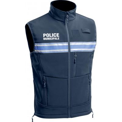 Gilet Softshell sans manches Police Municipale P.M. ONE Bleu Marine Foncé.