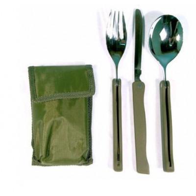 Couvert Acier Pliable 3 pièces Olive