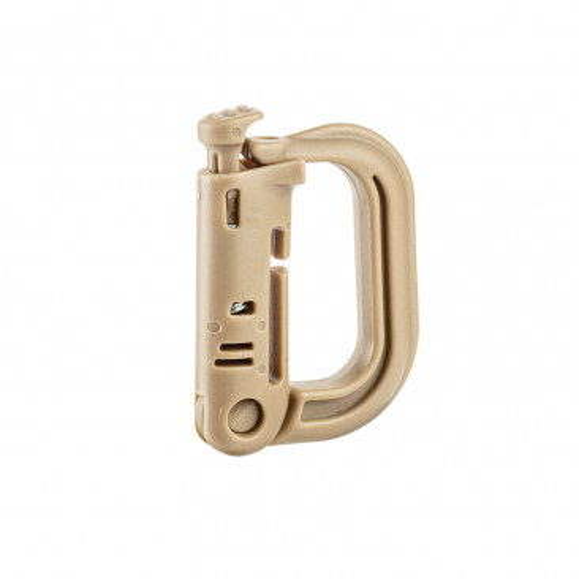 Mousqueton D-ring avec fixation M.O.L.L.E. Tan