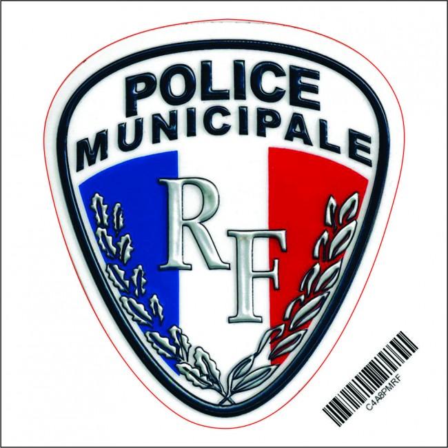 Autocollant Rond 8cm POLICE MUNICIPALE