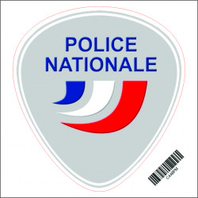 Autocollant Rond 8cm. POLICE NATIONALE.