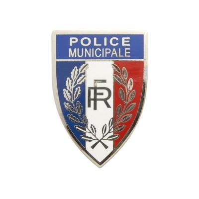 "Insigne Métal Casquette Police Municipale Tricolore ""RF"""