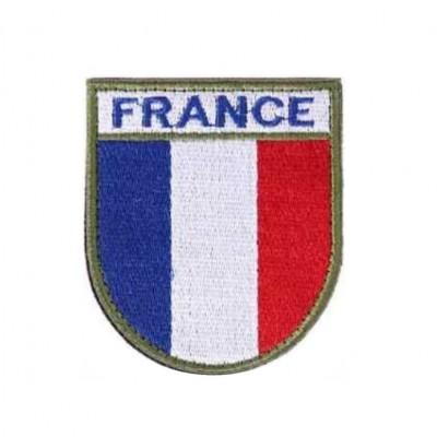 Ecusson de bras brodé sur tissu haute visibilité France.