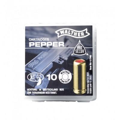 Cartouches à blanc Gaz Poivre Cal. 9mm P.A.K. (x10) Walther